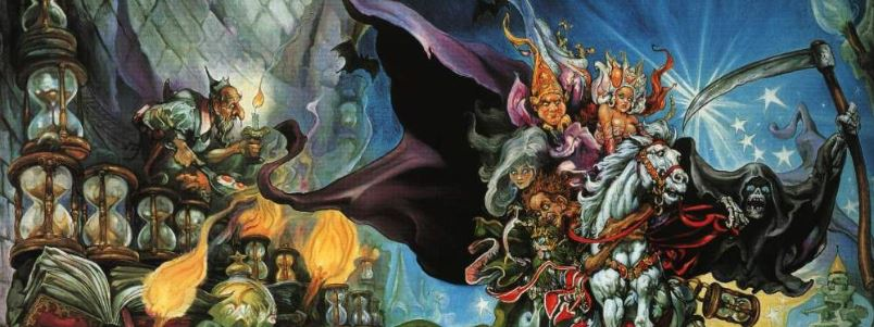 A section of Josh Kirby's cover art for the original edition of Mort, 1989.